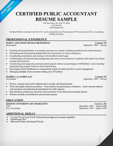 certified public accountant resume sample resume samples