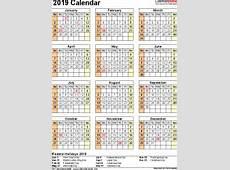 2019 Calendar Download 17 free printable Excel templates