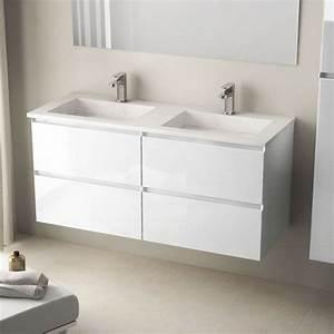 Meuble Double Vasque Suspendu : meuble salle de bain 121cm blanc brillant double vasque pierre cordoue ~ Melissatoandfro.com Idées de Décoration