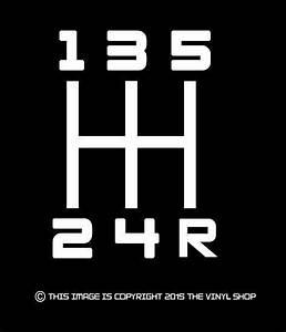 X1  U0026quot 5 Speed Stick Shift Pattern U0026quot  Vinyl Decal Jdm Hfunny 8
