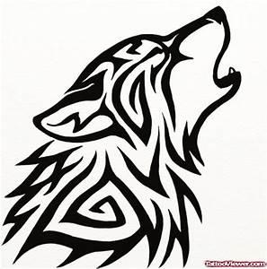 Black Ink Tribal Wolf Head Tattoo Design   Tattoo Viewer.com