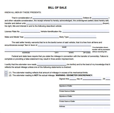 Used Car Bill Of Sale Template Pdf by 9 Sle Used Car Bill Of Sales Sle Templates