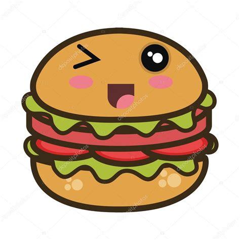 Kawaii Desenhos Animados Hambúrguer Fastfood — Vetor De
