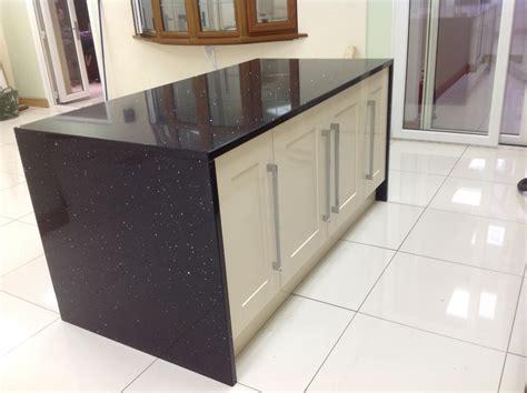 kitchen island worktops black starlight quartz island wrap
