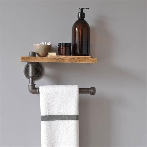 vintage bathroom design industrial towel rail and shelf by möa design