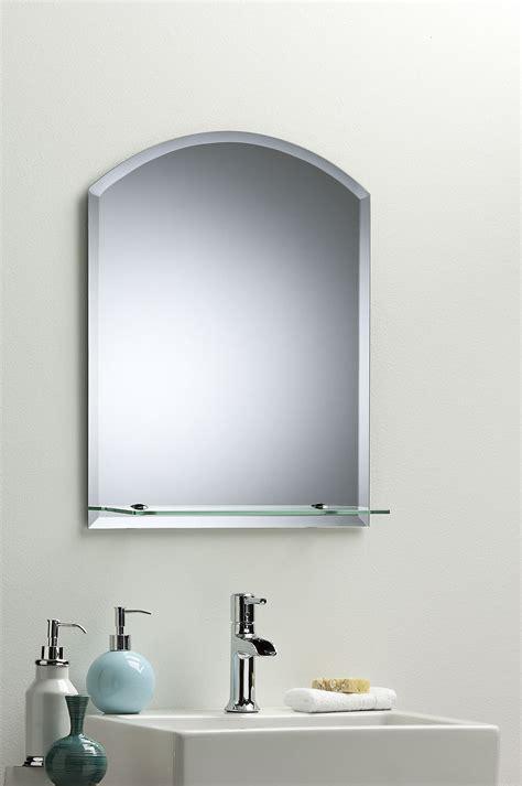 frameless bathroom mirrors uk bathroom wall mirror modern stylish arch with shelf and
