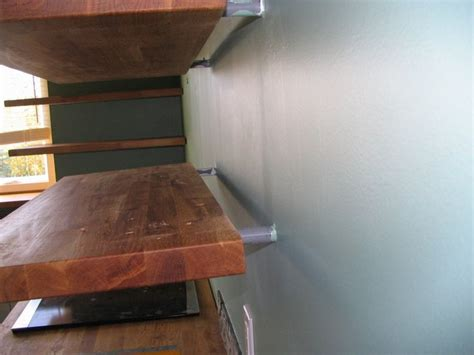 turning ikea butcher block  floating shelves kitchen
