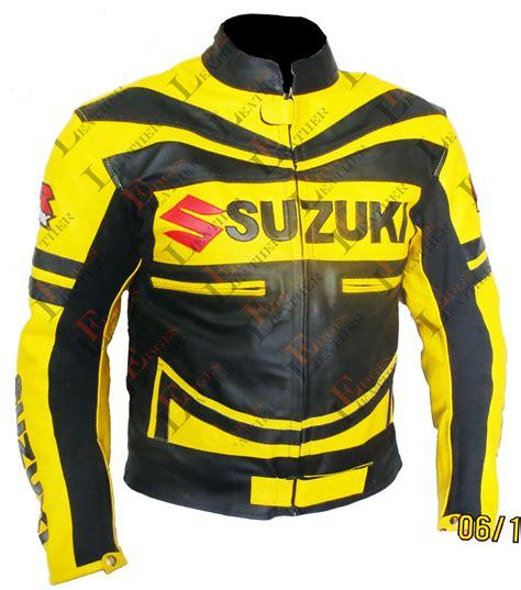 Suzuki Gsxr Jacket by Suzuki Gsxr Yellow Motorbike Scooter Leather Jacket Mens