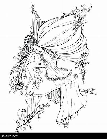 Coloring Dark Fairies Adults Printable Fairy Gothic