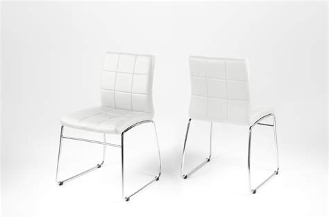 dining chair white leather look with chrome legs