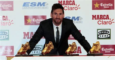 Leo Messi receives the fourth Golden Shoe of his career ...