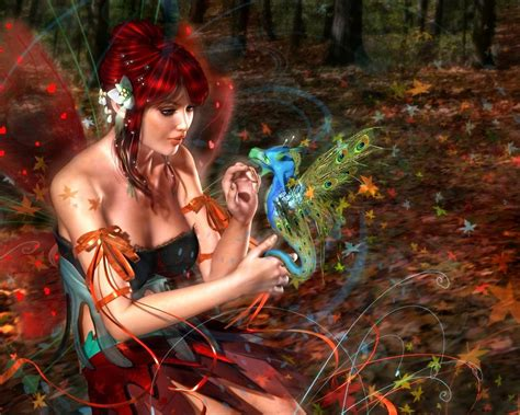 girl fairy fantasy red hair butterfly wings friend dragon