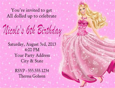 Barbie Birthday Party Invitations Message Board