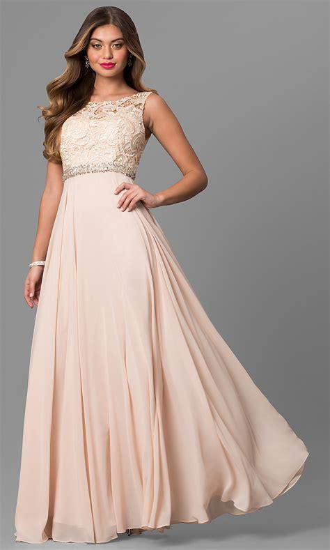 long laced bodice chiffon prom dress promgirl