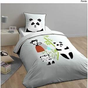 Housse De Couette Panda : parure housse de couette enfant en coton 57 fils panda pas cher prix auchan ~ Teatrodelosmanantiales.com Idées de Décoration