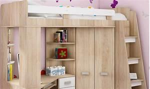 Lit combin en hauteur enfant avec bureau et armoire en bois for Chambre design avec sommier et matelas 120x200