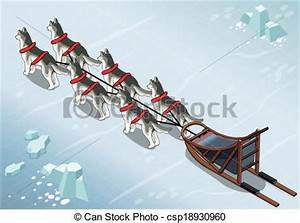 Clip Art Vector of Isometric sled dogs in Rear View on Ice ...