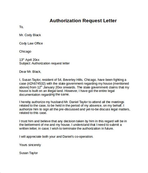 letter  authorization templates  word pages
