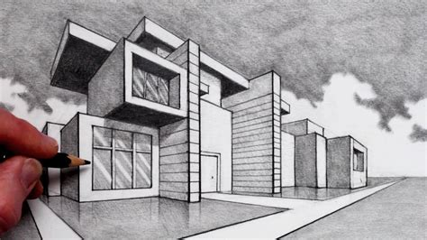 Modernes Haus Zeichnung by How To Draw In 2 Point Perspective Modern House