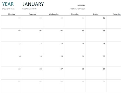 year month calendar