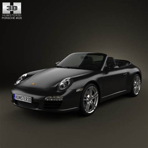 porsche 911 convertible black porsche 911 carrera black edition cabriolet 2011 3d model
