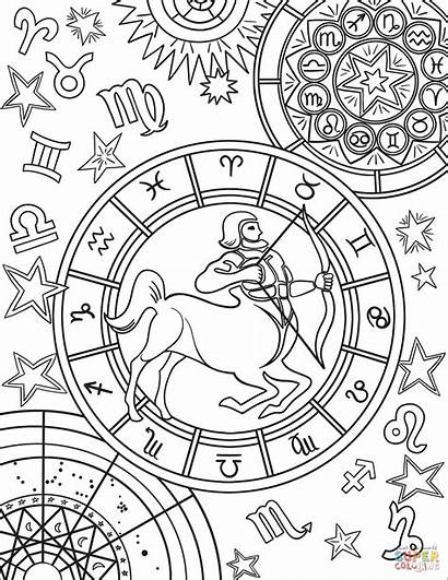 Zodiac Coloring Sagittarius Pages Signs Sign Printable