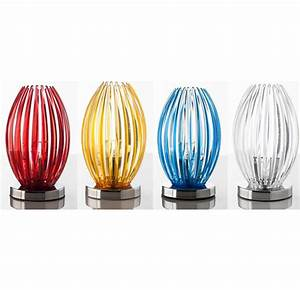 Lampe poser design transparent, rouge, jaune ou bleu GRACE