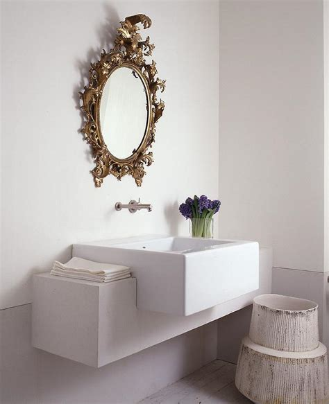 Gold Oval Baroque Mirror In Powder Room Transitional