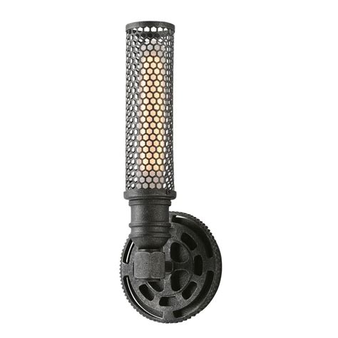 troy lighting atlas 1 light aged pewter wall sconce b3831 the home depot