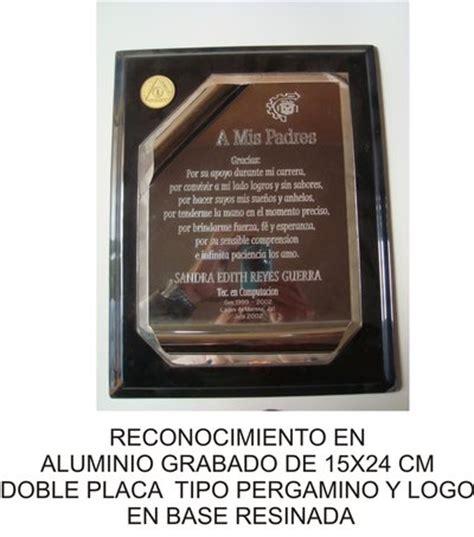 placas y reconocimientos en metal