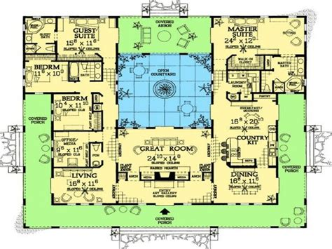 floor plan  shaped house plans  pool   middle