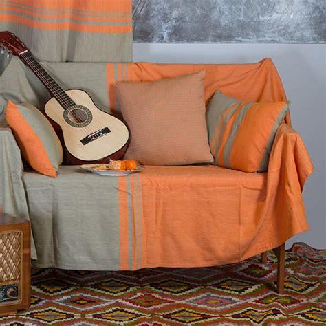 jeté de canapé coton jeté de canapé en coton rectangulaire orange et vert