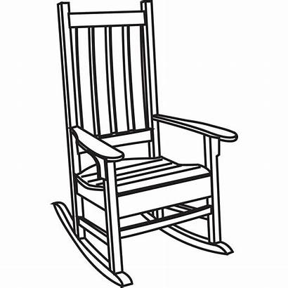 Chair Rocking Clipart Drawing Porch Clip Line