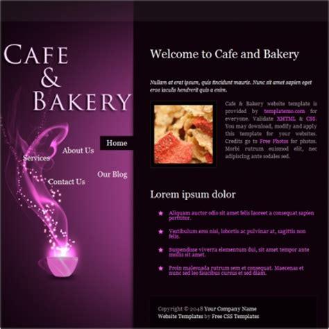 cafe bakery  website templates  css html js format
