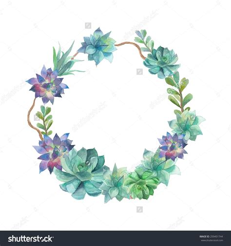 watercolor succulents wreath vintage frame with tree branch and succulents floral