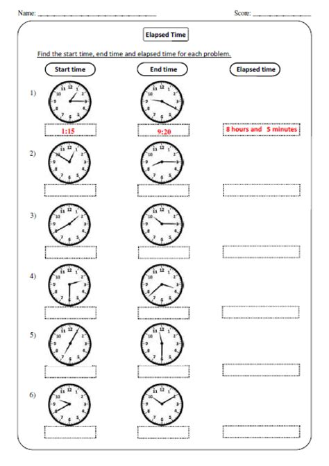 elapsed time worksheets kiddo shelter