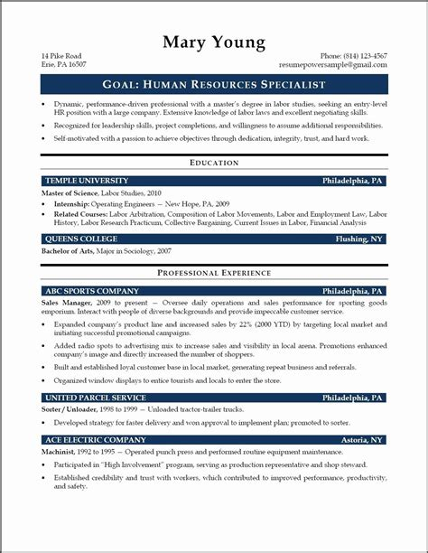 Sle Human Resources Resume Entry Level by 65 New Photos Of Human Resources Representative Resume