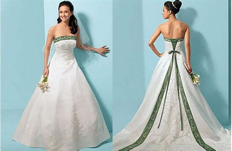 white  green wedding dresses