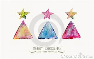 Merry Christmas Pine Tree Watercolor Greeting Card Stock