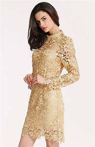 robe manches longues dentelle crochet champagne french With robe longue crochet