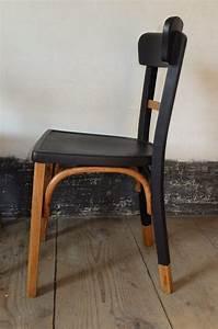 Relooker Des Chaises : mamba chaise bistrot bois ann es 60 39 s 70 39 s relook e r nov e la main peinture noire et ~ Melissatoandfro.com Idées de Décoration