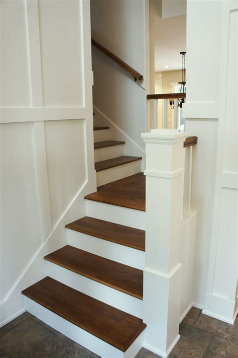 craftsman newel post Staircase Traditional with laminate
