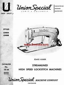 Union Special 63400 A B Instruction Manual  U0026 Parts List