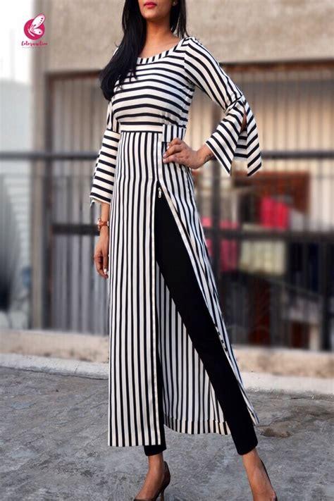 black  white stripes crepe kurti kurtis