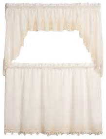 battenburg lace ecru kitchen curtain swag traditional