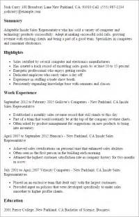 inside sales rep resume exles professional inside sales representative templates to showcase your talent myperfectresume