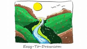 How to draw a plentiful cartoon river valley - Free & Easy ...
