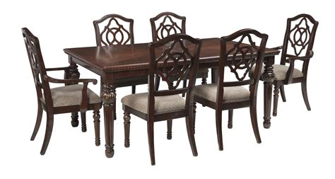 d and d table leahlyn 7 piece rectangular dining set in reddish brown