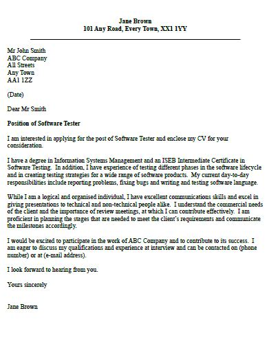 Cover Letter For Testing Resume software tester cover letter exle cover letter