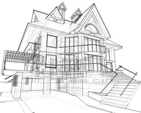 harmonious home plan sketch house technical draw stock photo landscape architecture